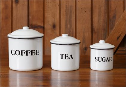 White Enamelware - Canisters; Coffee, Tea, Sugar