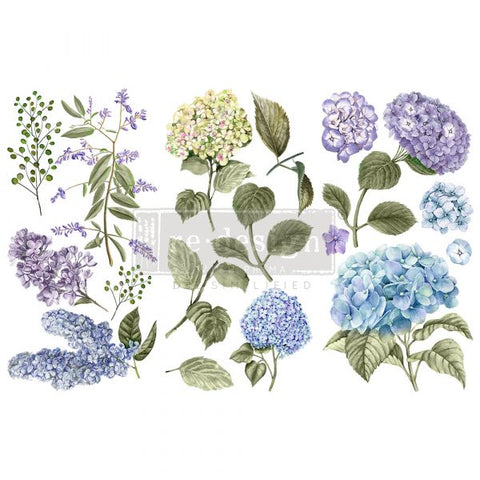 REDESIGN DECOR TRANSFERS® – MYSTIC HYDRANGEA – 3 SHEETS, 6″X12″