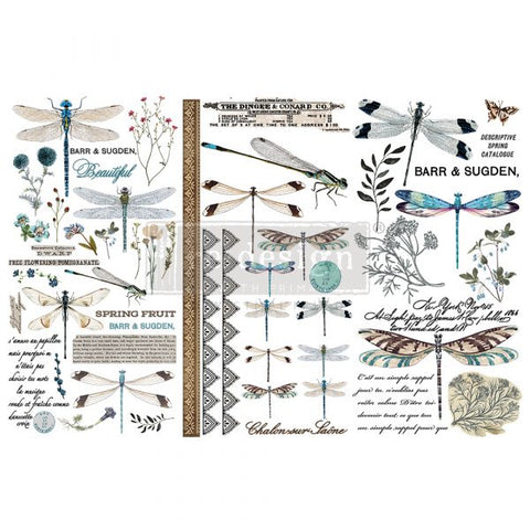 REDESIGN DECOR TRANSFERS® – SPRING DRAGONFLY – 3 SHEETS, 6″X12″