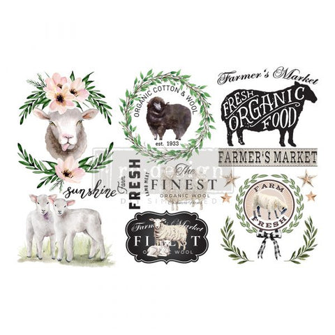 REDESIGN DECOR TRANSFERS® – SWEET LAMB – 3 SHEETS, 6″X12″