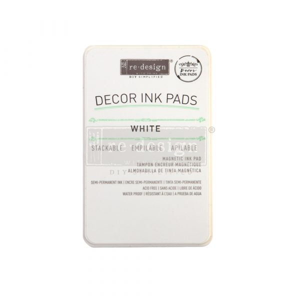 REDESIGN DECOR INK PAD – SEMI PERMANENT  WHITE – MAGNETIC INK PAD