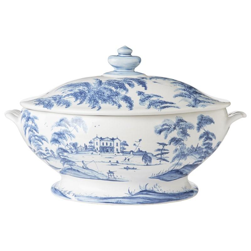 Country Estate Medium Tureen - Delft Blue