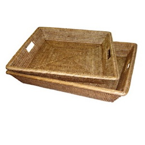 Large Square Woven Tray - Antique Brown