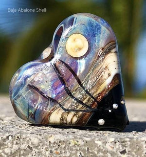 Baja Abalone Shell Art Glass Heart Bead - BajaTiki