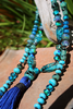 Teal Lotus Art Glass Necklace