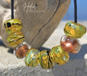 Helios Twilight Gold Art Glass Accent Beads - BajaTiki