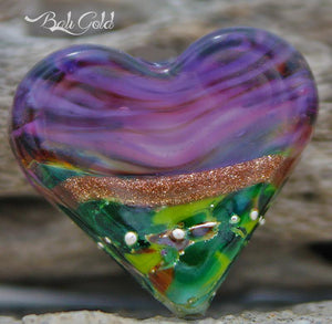 Bali Gold Art Glass Heart Bead - BajaTiki