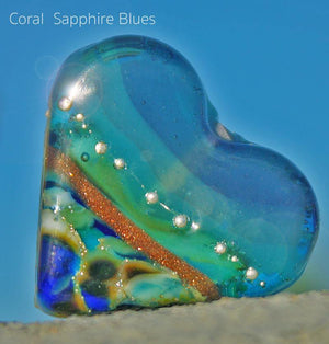 Coral Sapphire Blues Art Glass Heart Bead - BajaTiki