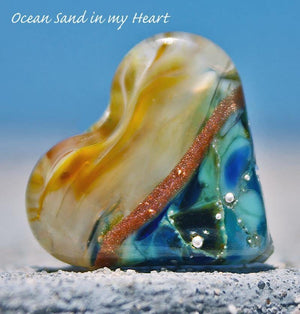 Ocean Sand Art Glass Heart Bead - BajaTiki