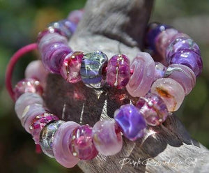 Purple Roses and Sea Salt Glass Bead Strand - BajaTiki