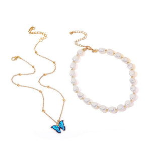 Butterfly & Treasure Pearl Layered Necklace - REGISAPEX