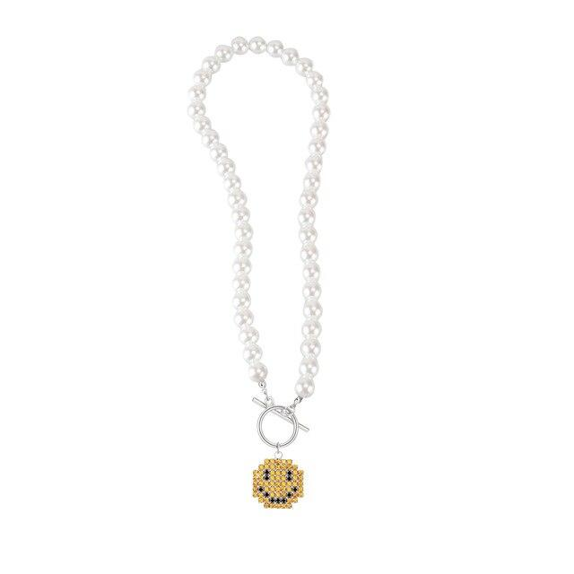 Smiley Face Charm Pearl Necklace - REGISAPEX