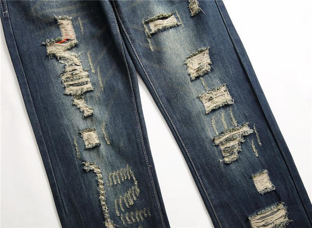 HhhknSolid Straight Hole Slim Fit Long Jeans