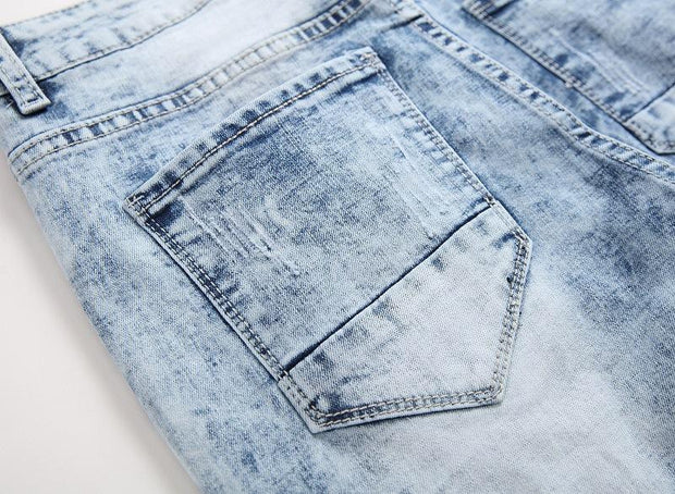 HhhknEmbroidery Vintage Ripped Jeans