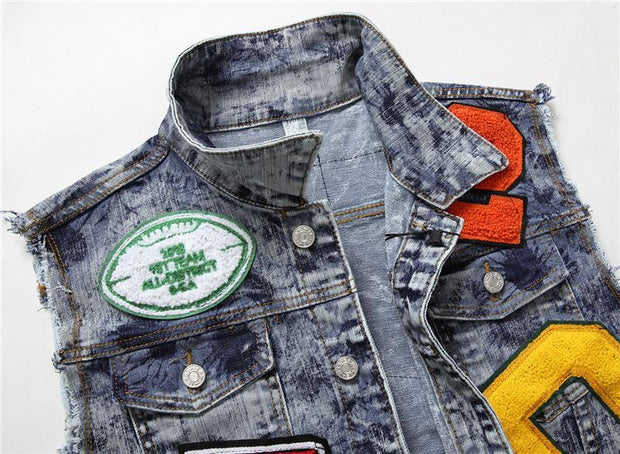 HhhknLetters Embroidery Badge Jeans Jacket