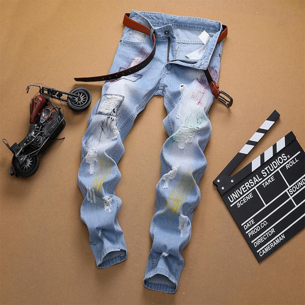 HhhknSolid Straight Printed Ripped Jeans