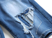 HhhknElasticity Patch Denim Shorts Jeans