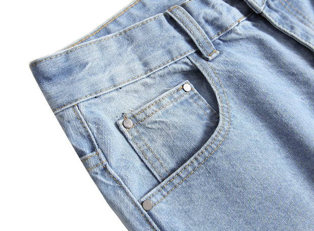 HhhknSolid Hole Vintage Denim Shorts Jeans