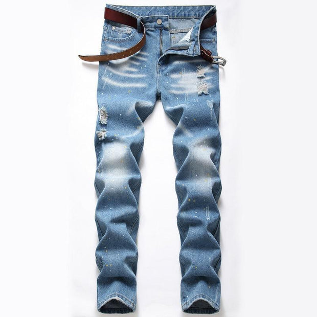 HhhknMen's Splash Ink Jeans Light Blue