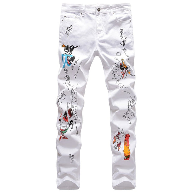 Hhhkn3D color printed animal stretch jeans