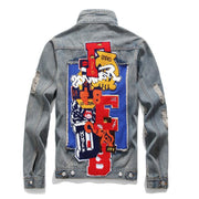 HhhknNew American Badge Letters Demin Jacket Coat