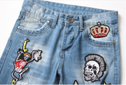 HhhknSkull Star Embroidery Ripped Jeans Pant