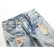 HhhknAmerican Flag Patch Knee Rivet Ripped Jeans