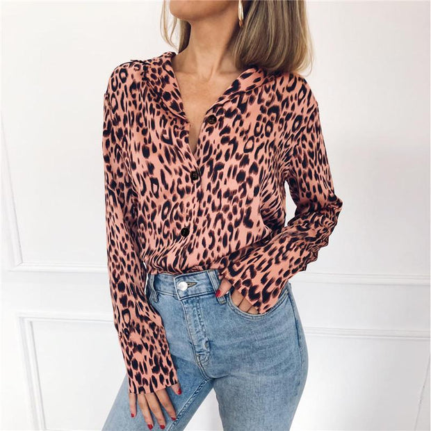 Autumn Vintage Leopard Blouse Long Sleeve Turn Down Collar - diNeiLa