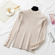 Autumn Women Long Sleeve Pure Slim Sweater Winter Knitted Top - diNeiLa