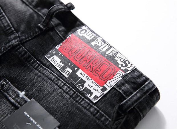 HhhknBlack embroidered stretch slim jeans