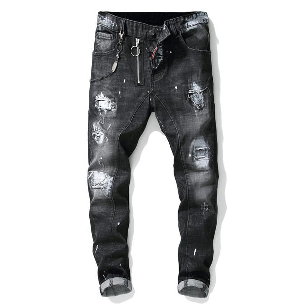 HhhknBlack patchwork ripped patch jeans