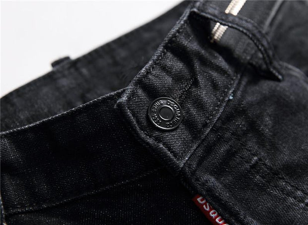 HhhknBlack slim stretch jeans with holes