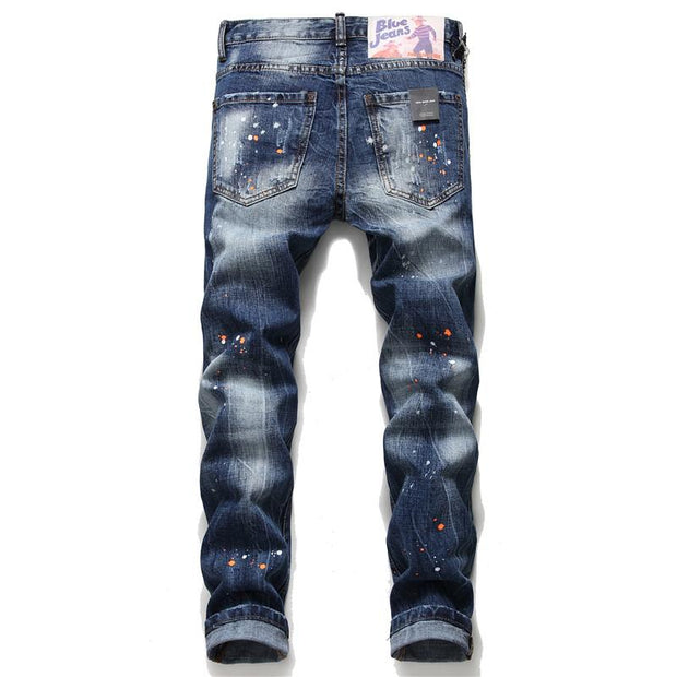 HhhknBlue embroidered slim men's jeans