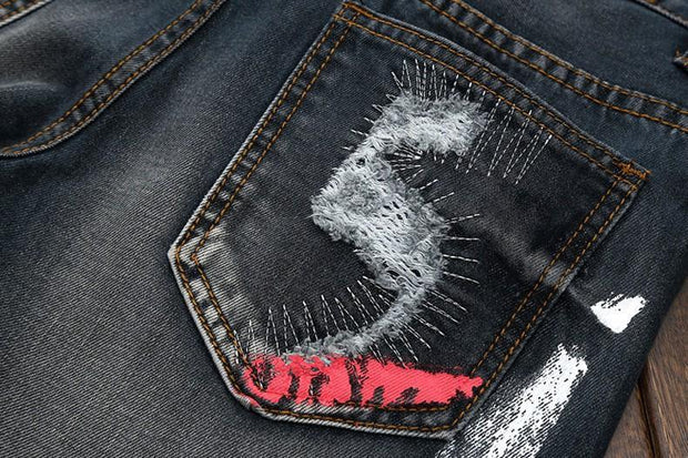 HhhknCasual Paint Hole Jeans