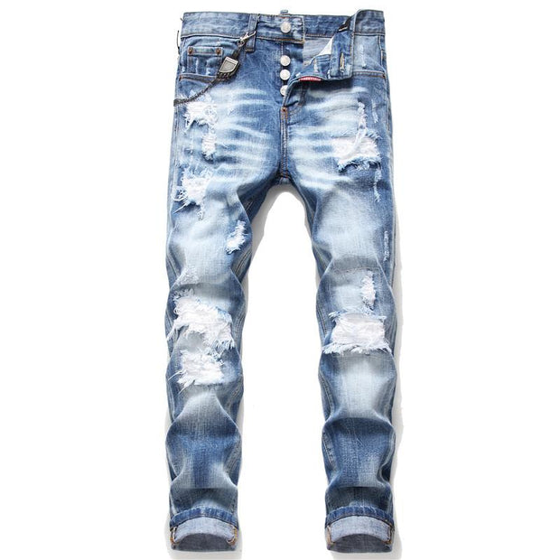 HhhknCasual ripped patch jeans