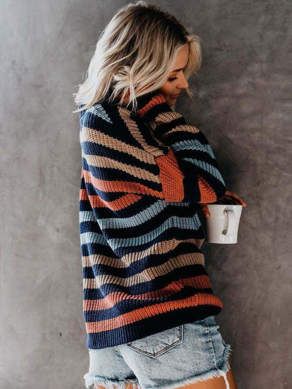 Fashion Sweater with Striped Round Neck Loose Long Sleeve Fashion Sweater - diNeiLa