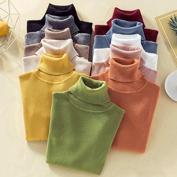 Knit Sweater Turtleneck Casual Pure Cashmere Soft Tops Pull Femme - diNeiLa