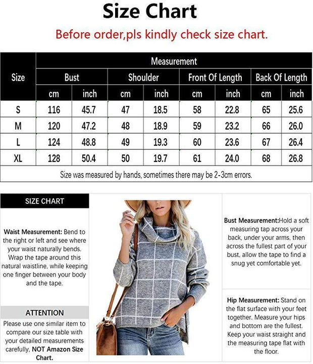 Ladies Casual Long Sleeve Knit Checkered Fashion Sweater - diNeiLa