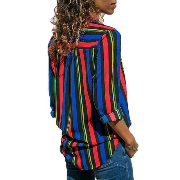 Leisure Long Sleeve Striped Shirt Turn Down Collar Lady Office Shirt - diNeiLa
