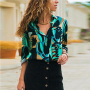 Long Sleeve Geometric Print Blouse Turn Down Collar Office Shirt - diNeiLa