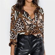 Sexy Leopard Blouse Shirt Long Sleeve Office Shirt - diNeiLa