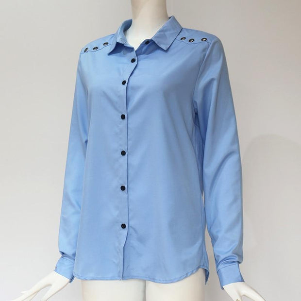Spring Elegant Pure Long Sleeve Blouse Shirt Chiffon Blouse - diNeiLa