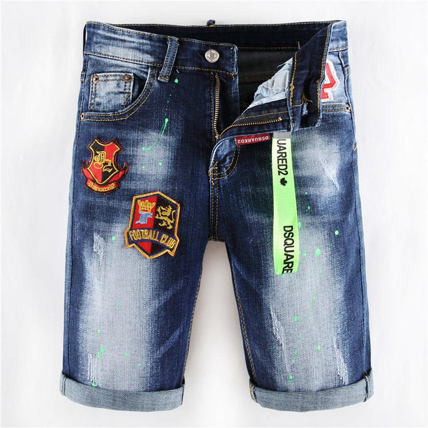 HhhknStretch embroidered inkjet jean shorts