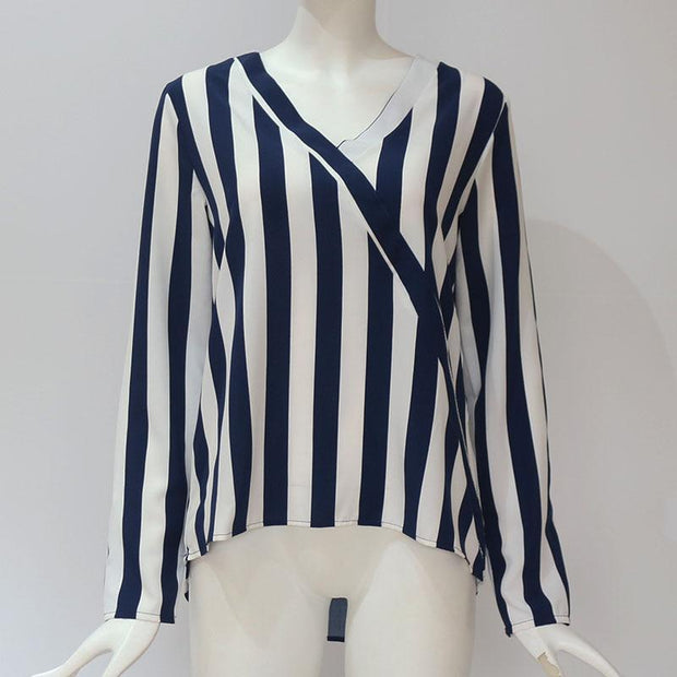 Striped Blouse Shirt Long Sleeve Blouse V-neck Shirts Casual Tops - diNeiLa