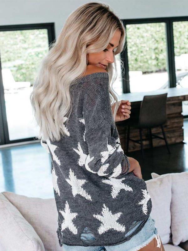Sweater with Sleeve Five-pointed Star Loose Sweater - diNeiLa