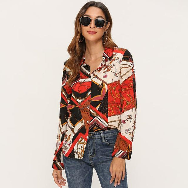 Women Striped Blouses Long Sleeve Chiffon Blouse - diNeiLa