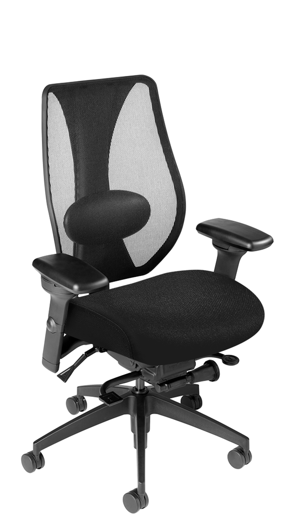 tCentric Hybrid Mesh Backrest & Upholstered Seat, Synchro Glide, Midnight Black