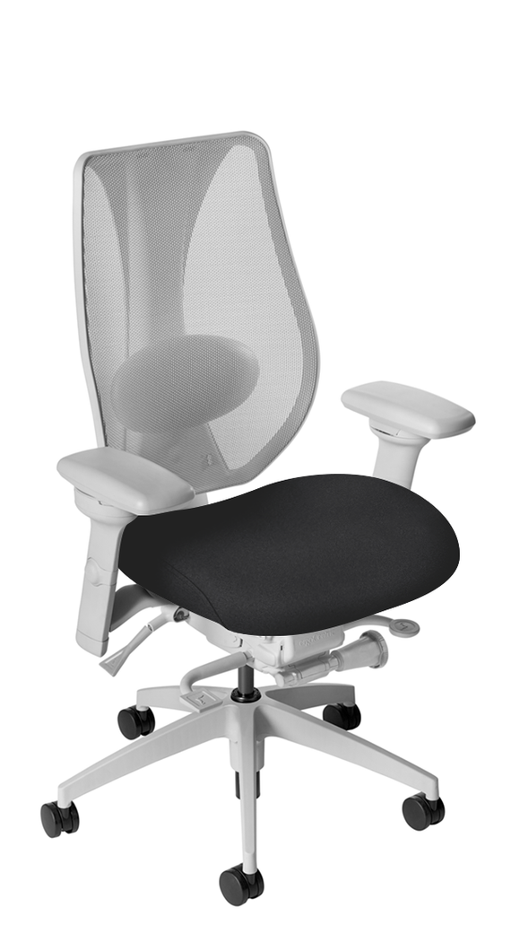 tCentric Hybrid Task Chair with Mesh Backrest & Upholstered Seat, Synchro Glide, Light Grey