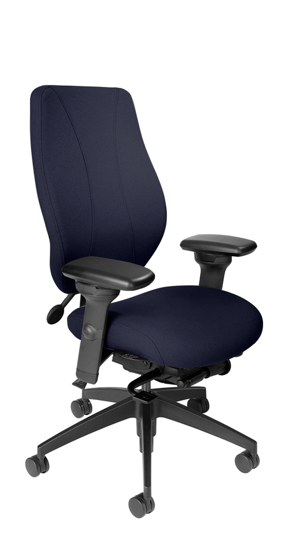 tCentric Hybrid with Upholstered Backrest and Seat, Synchro Glide Mechanism, Midnight Black Frame, Open House Midnight Upholstery