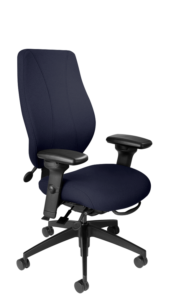 tCentric Hybrid with Upholstered Backrest and Seat, Multi Tilt Mechanism, Midnight Black Frame, Open House Midnight Upholstery